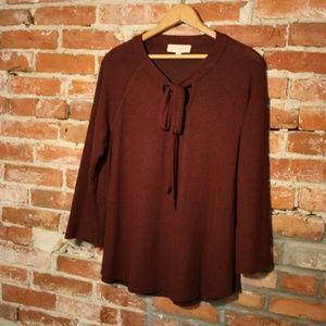 Philosophy Neck-Tie Soft Rayon Long Sleeve Sweater
